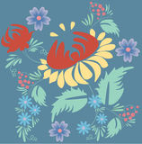 Folk floral composition Royalty Free Stock Images