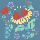 Folk floral composition. Folk floral drawing - illustration Vector Illustration