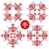 Folk floral decoration. Red and white folk floral decoration for easter, wedding and other festivities stock illustration