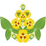 Folk floral ornament of yellow flowers with leaves Royalty Free Stock Image