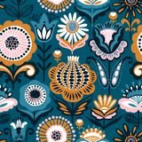 Folk floral seamless pattern. Modern abstract design. For,paper, cover, fabric and other users stock illustration
