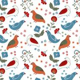 Folk floral seamless pattern wit birds stock illustration