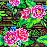Folk flowers with aztec background Royalty Free Stock Photos