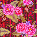 Folk flowers with aztec background. Colorful Mexican floral pattern with beautiful folk flowers, navajo background, amazing botanical illustration. Seamless Stock Photography