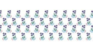 Folk flowers border seamless vector repeat blue stock illustration