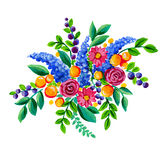 Folk flowers. Bouquet of garden flowers. Acrilic illustration. Folklore style, naive meadow flowers Stock Images