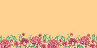 Folk Flowers Horizontal Seamless Pattern Stock Photo