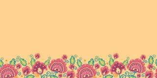 Folk Flowers Horizontal Seamless Pattern Stock Photo