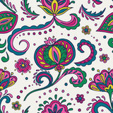 Folk flowers seamless pattern Stock Images