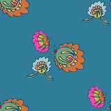 Folk Flowers Seamless vector pattern Stock Images