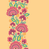 Folk Flowers Vertical Seamless Pattern Background Stock Image