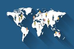 Folk från olika länder på världskarta royaltyfri illustrationer