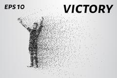 Folk från partiklar Berömmen av segern av små cirklar också vektor för coreldrawillustration Arkivbilder
