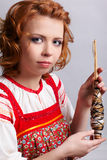 Folk girl with distaff Royalty Free Stock Photo