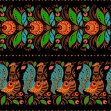 Folk gorodets painting seamless. Folk gorodets traditional painting. Seamless pattern with flowers and birds, black Stock Photo