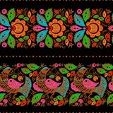 Folk gorodets painting seamless. Folk gorodets traditional painting. Seamless pattern with flowers and birds, black Royalty Free Stock Photo