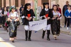 Folk group of Dorgali. CAGLIARI, ITALY - MAY 1, 2016: 360th Festival of Sant`Efisio - Sardinia Stock Photography