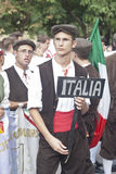 Folk group from sicily. POLIZZI GENEROSA, SICILY-AUGUST 19: Sicilian folk group at the Festival of hazelnuts music and parade through the city on August 19, 2012 stock images