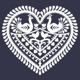 Folk heart pattern for Valentine's Day - Wycinanki Kurpiowskie (Kurpie Papercuts) Royalty Free Stock Photo