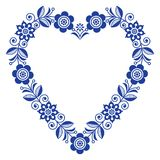Folk heart vector design, Scandinavian floral ornament heart shape, traditional design with flowers in navy blue - birthday or wed. Retro floral background Stock Photos