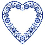 Folk heart vector design, Scandinavian floral ornament heart shape, traditional design with flowers in navy blue - greeting card. Retro floral background Royalty Free Stock Photo