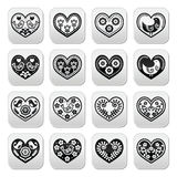 Folk hearts with flowers and birds buttons set Royalty Free Stock Photo