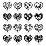Folk hearts with flowers and birds icons set Stock Images