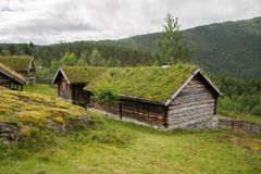 Old houses in ecomuseum in Norway. Folk heritage of Norway in summer  ecomuseum travel Stock Image
