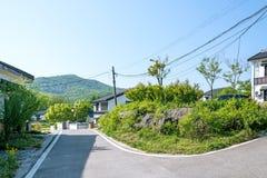 Folk house and road stock photos