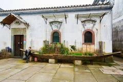 The folk house and ship type bonsai Stock Photo