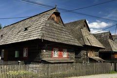 Folk Houses, Dolna Lehota, Orava. Slovakia. The historical buildings old folk wooden houses in lower Orava region in Dolna Lehota village - Slovakia royalty free stock images