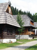 Folk houses in Zuberec museum. Vertical view of folk houses located in open-air museum of Orava Village. This open-air museum shows typical folk architecture of Stock Photo