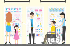 Folk i apoteklager stock illustrationer