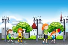 Folk i den stads- staden stock illustrationer
