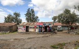Folk i den Tanzania byn Arkivfoto
