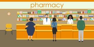 Folk i det orange apoteket royaltyfri illustrationer