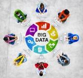 Folk i en cirkel genom att använda datoren med stort databegrepp Arkivfoto