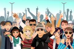 Folk i en konsert Arkivfoto
