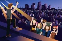 Folk i en konsert royaltyfri illustrationer