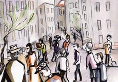 Folk i en stad Royaltyfri Bild