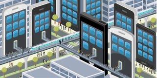Folk i en stad med smarta telefoner Arkivbilder