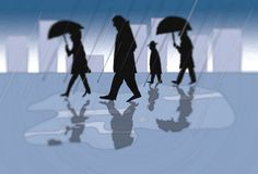 Folk i en stad på en regnig dag - illustration i underkuvade blåa färger vektor illustrationer
