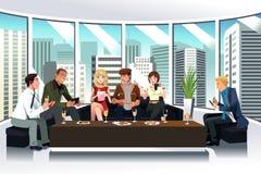Folk i en vardagsrum genom att använda elektroniska grejer royaltyfri illustrationer