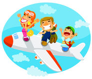 Folk i ett flygplan Arkivbild