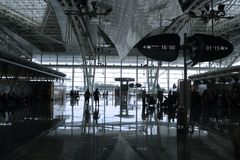 Folk i flygplatsen royaltyfria foton
