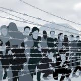 Folk i flyktingläger stock illustrationer