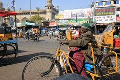 Folk i Hyderabad, Indien Arkivfoto