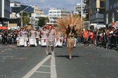 Folk i karnevaldräkter som marscherar längs en gata royaltyfri bild