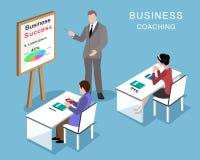 Folk i kontoret Affärscoachningprocess isometriskt folk för affär 3d med affärslagledaren vektor illustrationer
