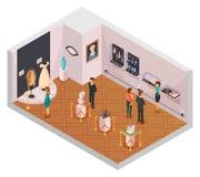 Folk i museet Hall Isometric Composition Royaltyfri Illustrationer
